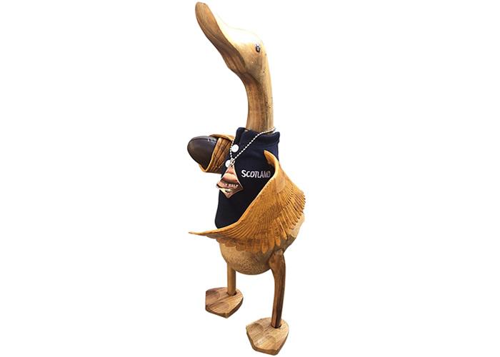 Wooden Duck wearing black rugby shirt -  FLY HALF SCOTLAND