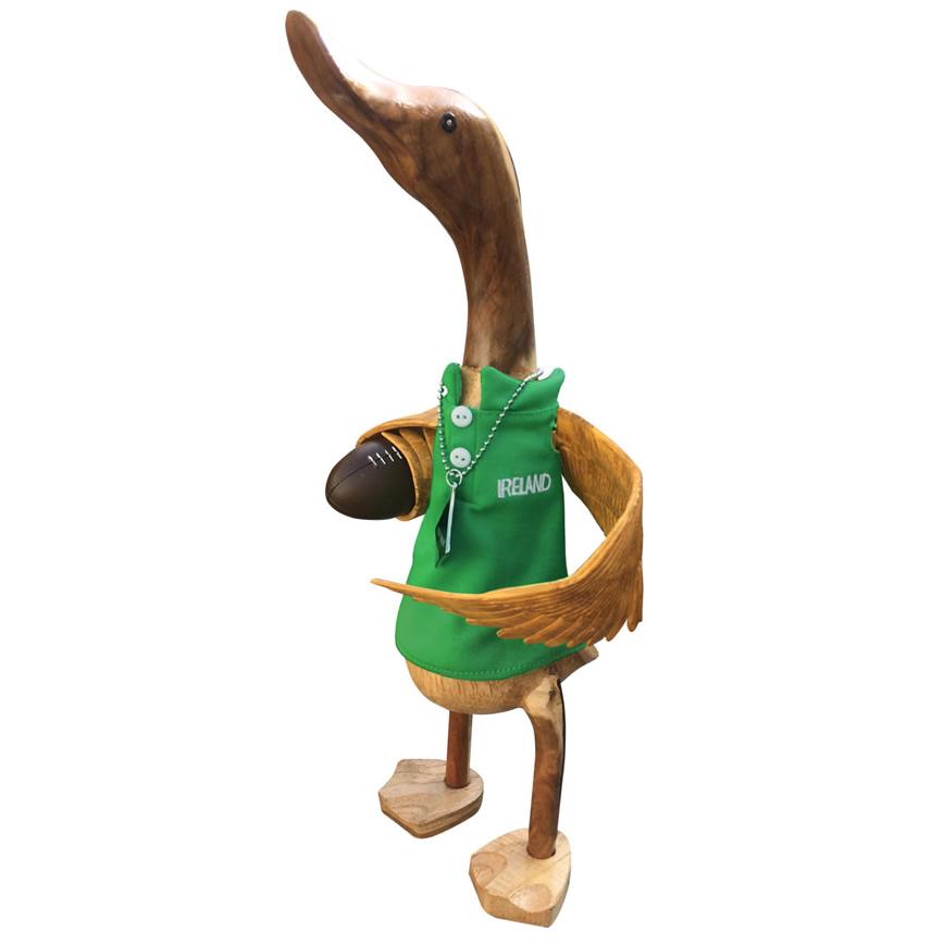 Wooden Duck wearing green rugby shirt - FLY HALF IRELAND