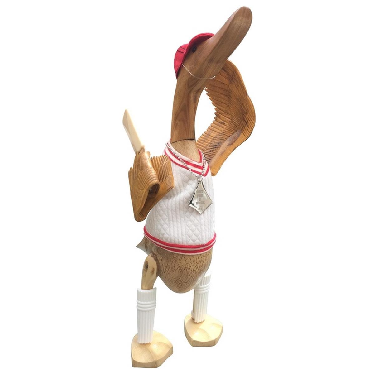 Cricketer Wooden Duck Ornament